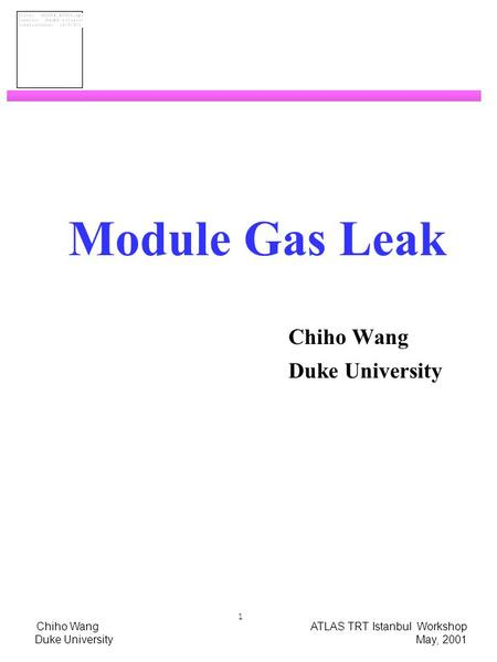 Chiho Wang ATLAS TRT Istanbul Workshop Duke University May, 2001 1 Module Gas Leak Chiho Wang Duke University.