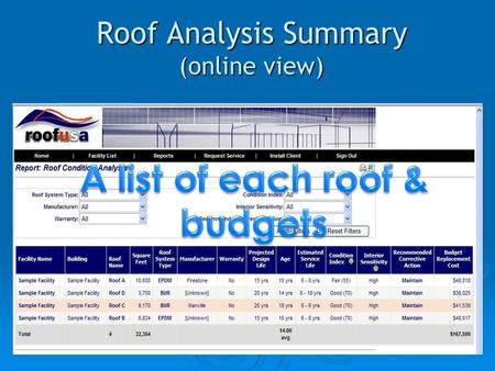 Roof Analysis Summary (online view). Roof Drawing (online view with priority color & penetrations)