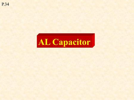 AL Capacitor P.34. A capacitor is an electrical device for storing electric charge and energy. - consists of two parallel metal plates with an insulator.