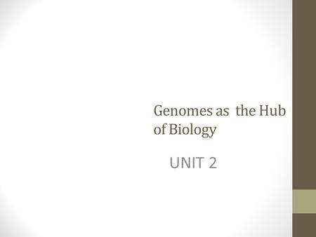 Genomes as the Hub of Biology UNIT 2. The hub of biology As biologists, we seek not only to understand how a single organism works, but how organisms.