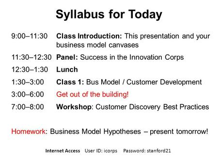 Syllabus for Today 9:00–11:30 Class Introduction: This presentation and your business model canvases 11:30–12:30 Panel: Success in the Innovation Corps.