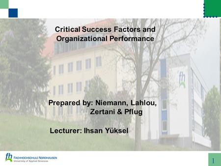 1 Critical Success Factors and Organizational Performance Prepared by: Niemann, Lahlou, Zertani & Pflug Lecturer: Ihsan Yüksel.