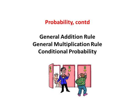 Probability, contd General Addition Rule General Multiplication Rule Conditional Probability.