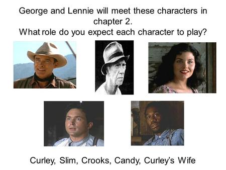 George and Lennie will meet these characters in chapter 2. What role do you expect each character to play? Curley, Slim, Crooks, Candy, Curley's Wife.