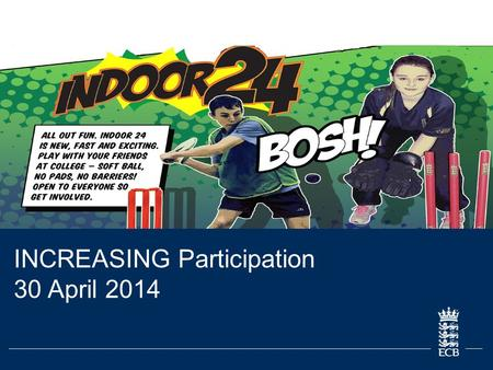 INCREASING Participation 30 April 2014. 2 ECB Grassroots Cricket Report Learning Objectives The basic offer for cricket is within FE. The content and.