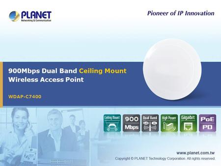 900Mbps Dual Band Ceiling Mount Wireless Access Point WDAP-C7400.