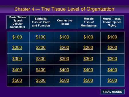 Chapter 4 — The Tissue Level of Organization $100 $200 $300 $400 $500 $100$100$100 $200 $300 $400 $500 Basic Tissue Types/ Cellular Connectors Epithelial.
