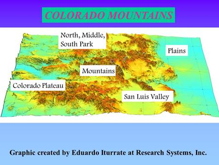 Graphic created by Eduardo Iturrate at Research Systems, Inc. COLORADO MOUNTAINS Plains Mountains Colorado Plateau San Luis Valley North, Middle, South.