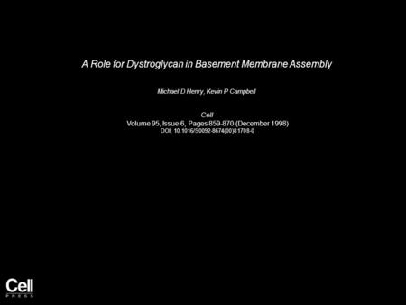 A Role for Dystroglycan in Basement Membrane Assembly Michael D Henry, Kevin P Campbell Cell Volume 95, Issue 6, Pages 859-870 (December 1998) DOI: 10.1016/S0092-8674(00)81708-0.
