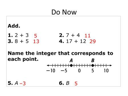 Add. 1. 2 + 32. 7 + 4 3. 8 + 54. 17 + 12 Name the integer that corresponds to each point. 5. A6. B 5 11 –3 2913 5 Do Now.