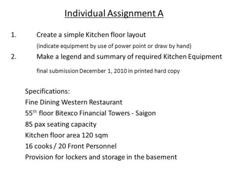 Individual Assignment A 1.Create a simple Kitchen floor layout (indicate equipment by use of power point or draw by hand) 2. Make a legend and summary.