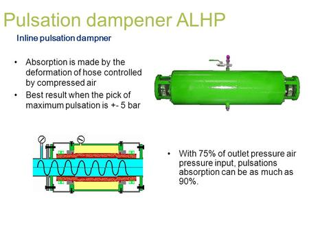 Pulsation dampener ALHP Absorption is made by the deformation of hose controlled by compressed air Best result when the pick of maximum pulsation is +-