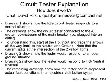 Circuit Tester Explanation How does it work? Capt. David Rifkin, Drawing 1 shows how the little circuit tester responds to.