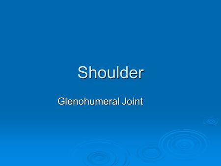 Shoulder Glenohumeral Joint.