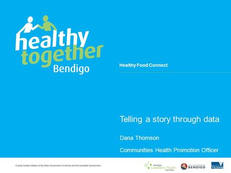 Healthy Food Connect Telling a story through data Dana Thomson Communities Health Promotion Officer.