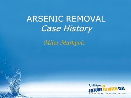 ARSENIC REMOVAL Case History Milos Markovic. Arsenic removal 35000 m3/day Plant in Subotica-SERBIA.