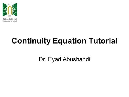 Continuity Equation Tutorial