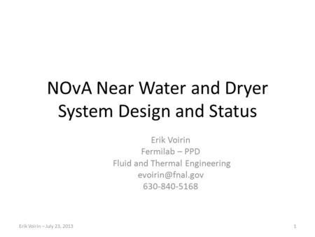 NOvA Near Water and Dryer System Design and Status
