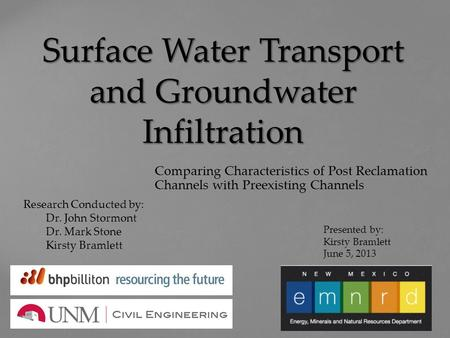 Surface Water Transport and Groundwater Infiltration Comparing Characteristics of Post Reclamation Channels with Preexisting Channels Presented by: Kirsty.