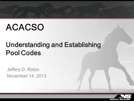 ACACSO Understanding and Establishing Pool Codes Jeffery D. Roton November 14, 2013.