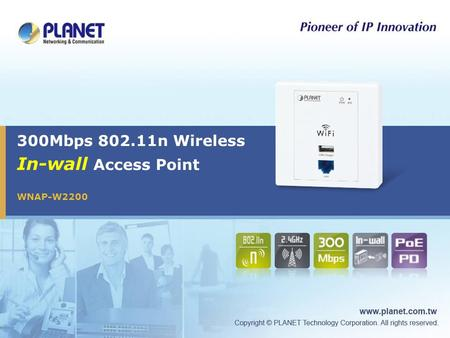 300Mbps 802.11n Wireless In-wall Access Point WNAP-W2200.