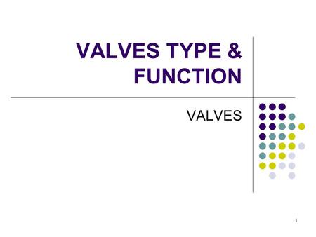 1 VALVES TYPE & FUNCTION VALVES. 2 Valves On-Off Service Throttling (Regulating) Service Prevention of back flow Pressure control (Control Valve)