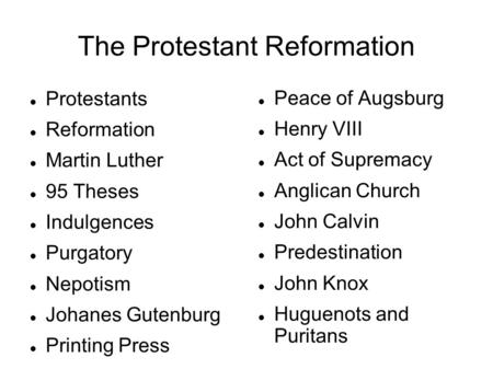 the different aspects of protestant reformation essay One of these was 'calvinism,' a different interpretation of protestant thought to that of luther, which replaced the 'old' thinking in many places in the middle to late sixteenth century this has been dubbed the 'second reformation.