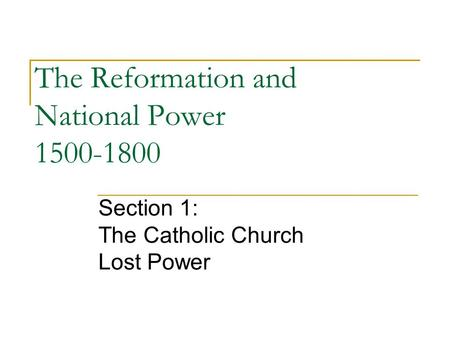The Reformation and National Power