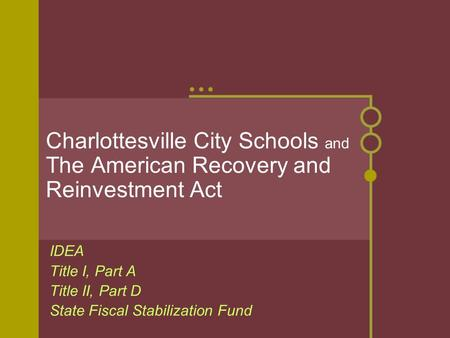 Charlottesville City Schools and The American Recovery and Reinvestment Act IDEA Title I, Part A Title II, Part D State Fiscal Stabilization Fund.