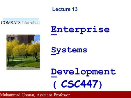 Lecture 13 Enterprise Systems Development ( CSC447 ) COMSATS Islamabad Muhammad Usman, Assistant Professor.
