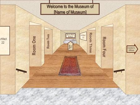 Museum Entrance Room One Room Two Room Four Room Three Welcome to the Museum of [Name of Museum] Curator's Offices Room Five Artifact 22 Artifact 23 Back.