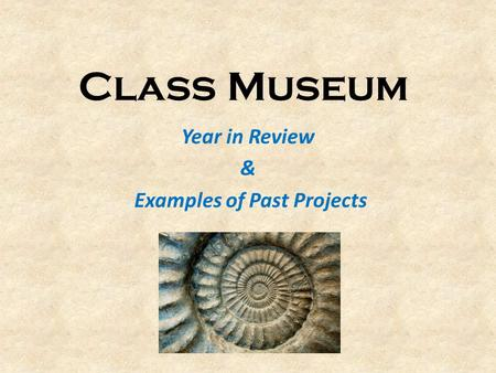 Class Museum Year in Review & Examples of Past Projects.