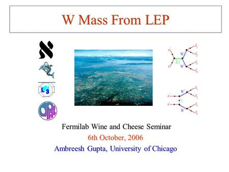 W Mass From LEP Fermilab Wine and Cheese Seminar Fermilab Wine and Cheese Seminar 6th October, 2006 Ambreesh Gupta, University of Chicago.