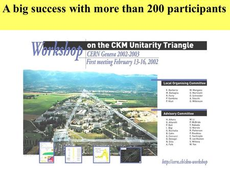 A big success with more than 200 participants. AIM OF THE WORKSHOP Make an overall status of our knowledge of the CKM parameters at the end of the era.