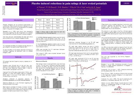 Placebo-induced reductions in pain ratings & laser evoked potentials A.Watson 1, W. El-Deredy 2, D.E. Bentley 1, Y.Boyle 1, B.A.Vogt 3 and A. K. P. Jones.