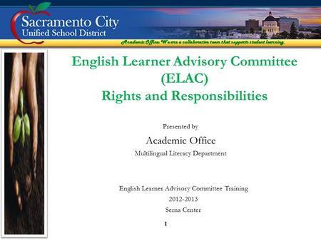 Academic Office: We are a collaborative team that supports student learning. 1 Presented by Academic Office Multilingual Literacy Department English Learner.