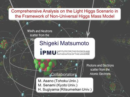 Comprehensive Analysis on the Light Higgs Scenario in the Framework of Non-Universal Higgs Mass Model M. Asano (Tohoku Univ.) M. Senami (Kyoto Univ.) H.