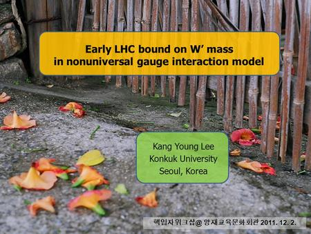 Early LHC bound on W' mass in nonuniversal gauge interaction model Kang Young Lee Konkuk University Seoul, Korea 양재교육문화회관 2011. 12. 2.