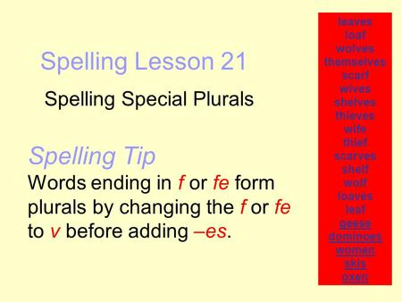Spelling Lesson 21 Spelling Special Plurals leaves loaf wolves themselves scarf wives shelves thieves wife thief scarves shelf wolf loaves leaf geese dominoes.