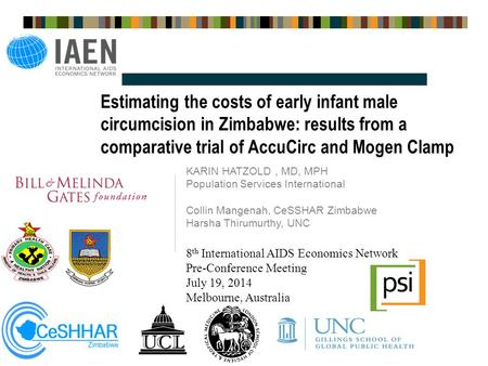Estimating the costs of early infant male circumcision in Zimbabwe: results from a comparative trial of AccuCirc and Mogen Clamp KARIN HATZOLD, MD, MPH.
