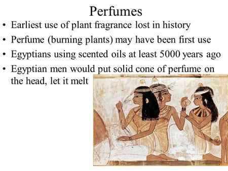 Perfumes Earliest use of plant fragrance lost in history Perfume (burning plants) may have been first use Egyptians using scented oils at least 5000 years.