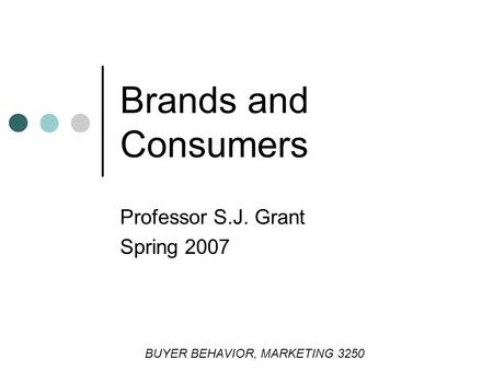 Brands and Consumers Professor S.J. Grant Spring 2007 BUYER BEHAVIOR, MARKETING 3250.