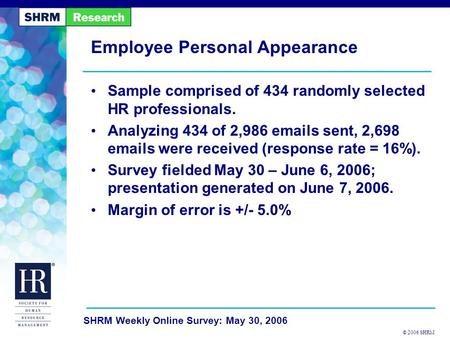 © 2006 SHRM SHRM Weekly Online Survey: May 30, 2006 Employee Personal Appearance Sample comprised of 434 randomly selected HR professionals. Analyzing.