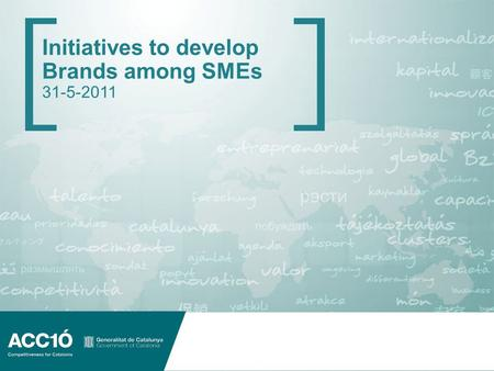 Initiatives to develop Brands among SMEs 31-5-2011.