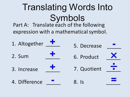 Translating Words Into Symbols