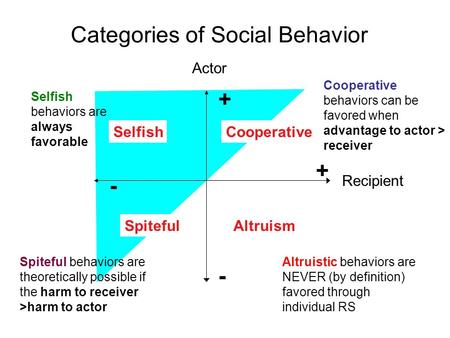 Categories of Social Behavior Actor Recipient + + - - Selfish Altruism Cooperative Spiteful Altruistic behaviors are NEVER (by definition) favored through.