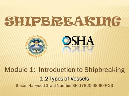 SHIPBREAKING Module 1: Introduction to Shipbreaking 1.2 Types of Vessels Susan Harwood Grant Number SH-17820-08-60-F-23.