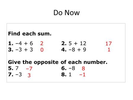 Find each sum. 1. –4 + 62. 5 + 12 3. –3 + 34. –8 + 9 Give the opposite of each number. 5. 76. –8 7. –38. 1 2 17 0 1 –7 8 3 –1 Do Now.