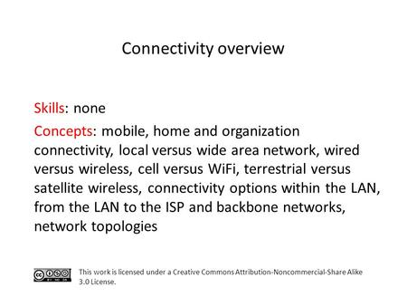 Skills: none Concepts: mobile, home and organization connectivity, local versus wide area network, wired versus wireless, cell versus WiFi, terrestrial.