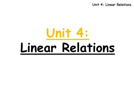 Unit 4: Linear Relations Unit 4: Linear Relations.